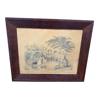 19th Century Framed Drawing of Mount Vernon For Sale