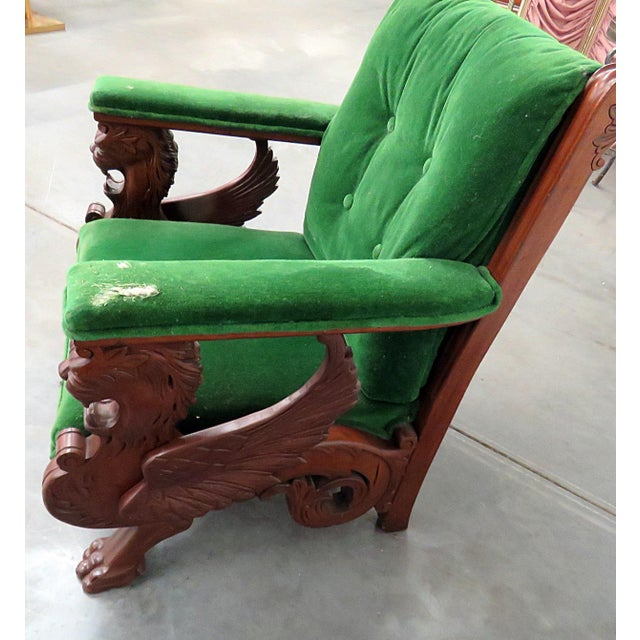 Early 20th Century Renaissance Style Green Velvet Upholstered Winged Griffin Chair For Sale - Image 5 of 8