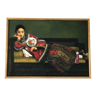 Modernist Chinese Painting of a Reclining Woman, Framed For Sale