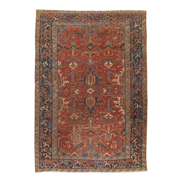 "Vintage Shabby Chic Red Heriz Rug 7'4"" X 10'8"" For Sale"