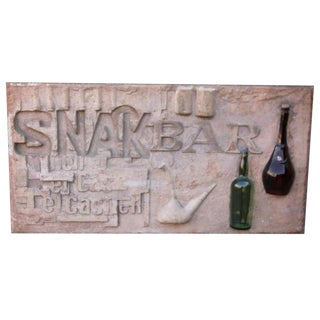 Terracotta Snack Bar Sign With Bottles For Sale