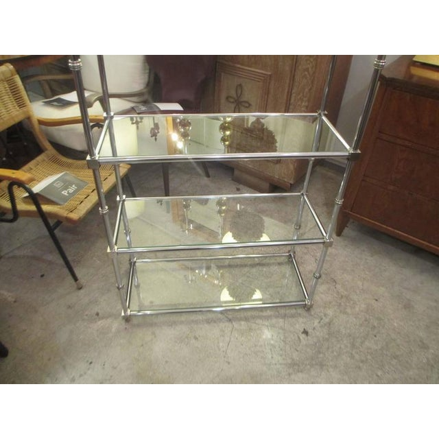 Chrome Pair of Chrome Etageres/Bookcases With Glass Shelves For Sale - Image 7 of 9