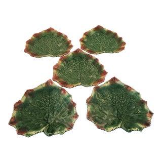 Bordallo Pinheiro Grape Leaf Appetizer Dishes - Set of 5 For Sale
