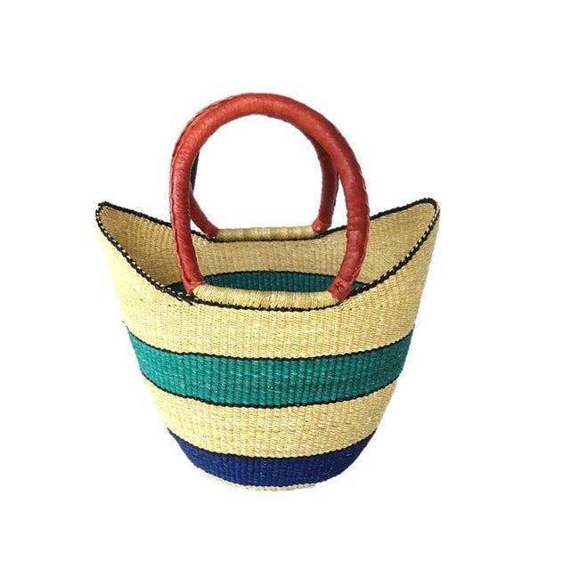 African Bolga Ghana Woven Turquoise Blue Stripe and Tan Yikene Basket For Sale - Image 4 of 4