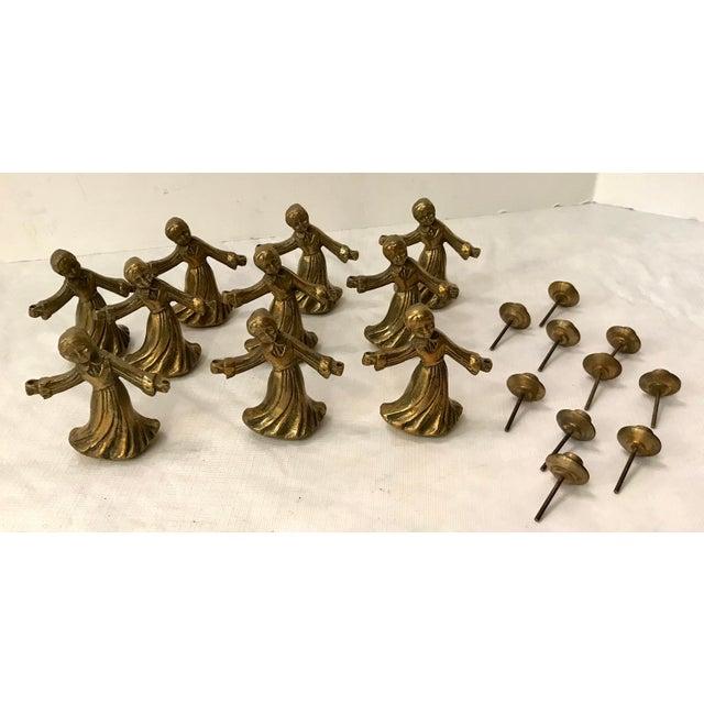 Metal Vintage Ladies Dancing Candle Holders - Set of 10 For Sale - Image 7 of 10