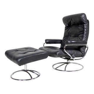 1970s Vintage Ekrones Leather Swivel Reclining Lounge Chair and Ottoman For Sale