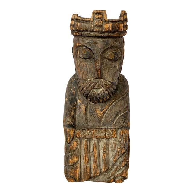 Vintage Hand Carved Wooden King Sculpture For Sale