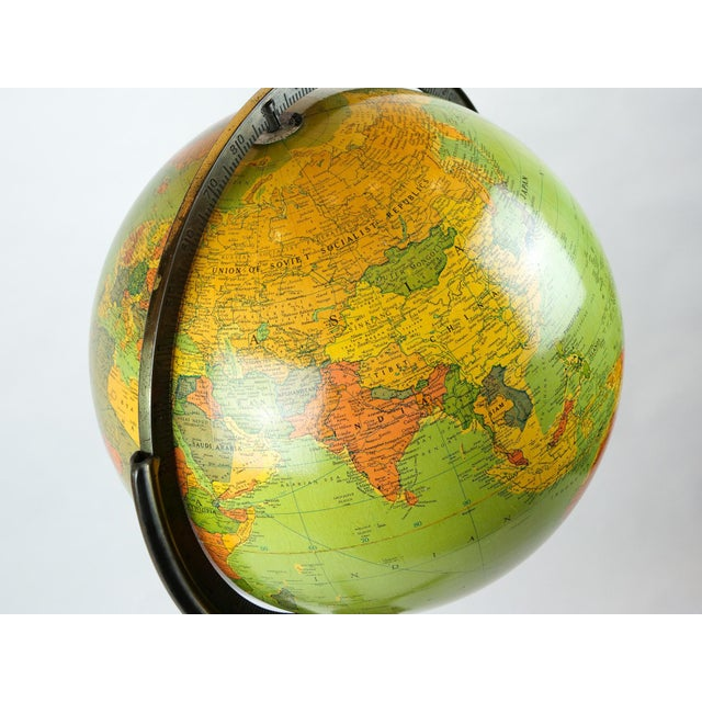 Mid-Century Modern Standing Glass and Wood Globe, Mid-20th Century For Sale - Image 3 of 8