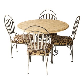 Transitional Powder Coated Iron Travertine Dinette Table & Chairs Set For Sale