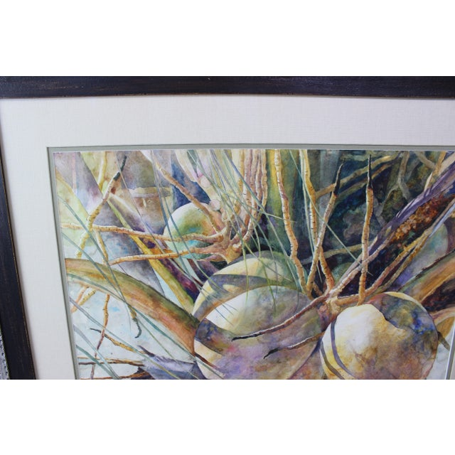 """Late 20th Century Vintage Barbara Shipman Watercolor Painting """"Lots of Coconuts"""" For Sale - Image 5 of 13"""