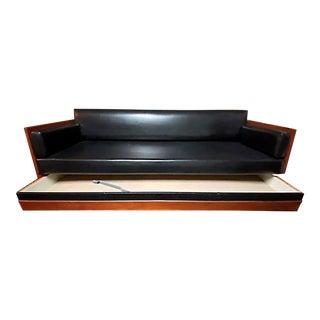 Mid-Century Modern Black Leather Sleeper Sofa For Sale