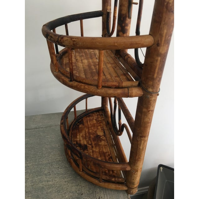 Brown Vintage Chinoiserie Tortoise Shell Burnt Bamboo Wall Shelf For Sale - Image 8 of 10