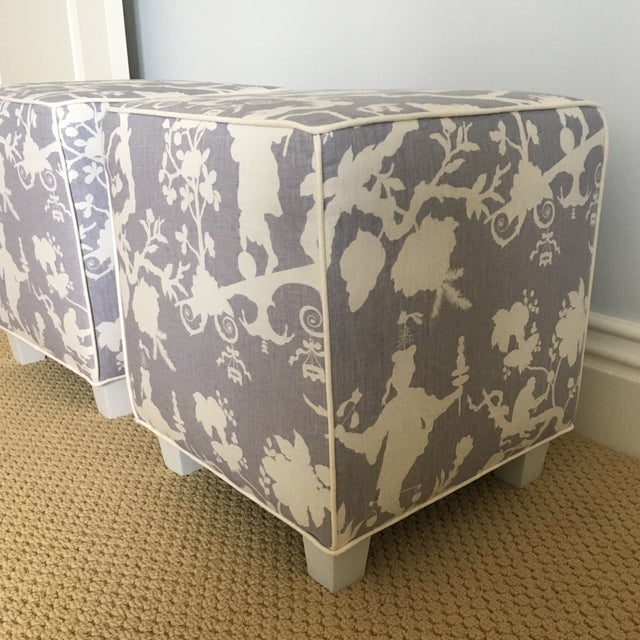 2010s Chinoiserie Schumacher Cube Ottomans - a Pair For Sale - Image 5 of 8