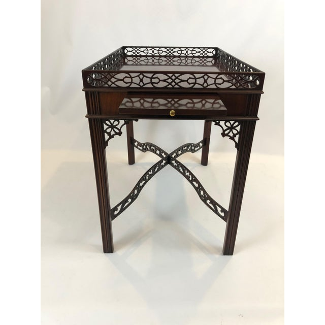 Brown Chippendale Flame Mahogany Side Table For Sale - Image 8 of 13