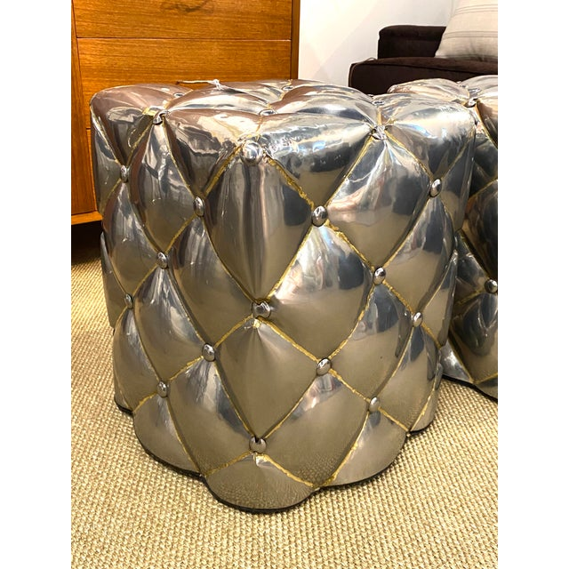 Vintage Pair of Metal Welded Tufts Ottomans Poufs Foot Stools Silver Gold Industrial For Sale In New York - Image 6 of 9