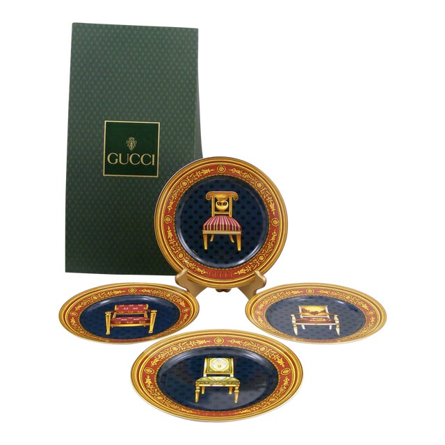 Gucci Porcelain Chair Plates - Set of 4 For Sale