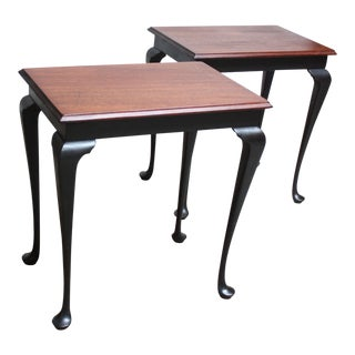 Pair of Mahogany and Ebonized Walnut Chippendale-Style Tall End Tables For Sale