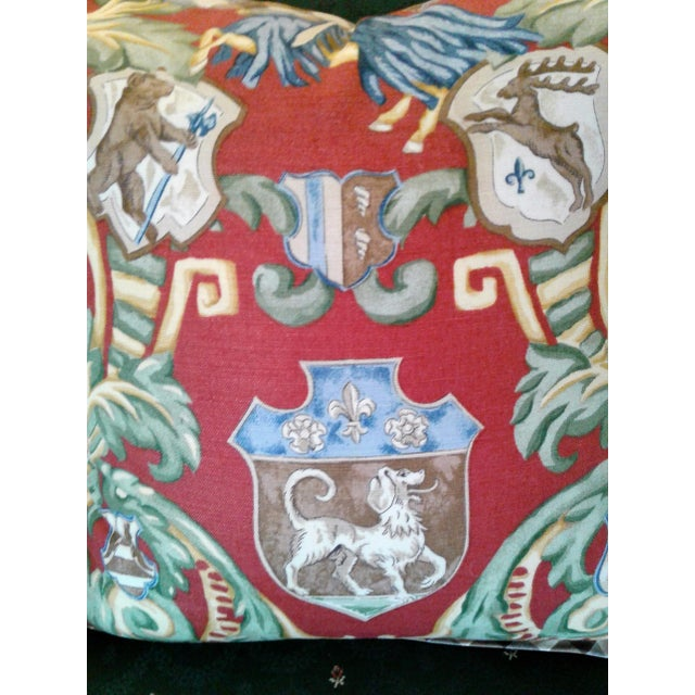 American Red & Green Crest Pillow For Sale - Image 3 of 4