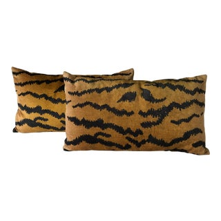 Contemporary Velvet Tiger Print Pillows - a Pair For Sale