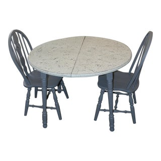 Gray and White Dining Set - Set of 3 For Sale