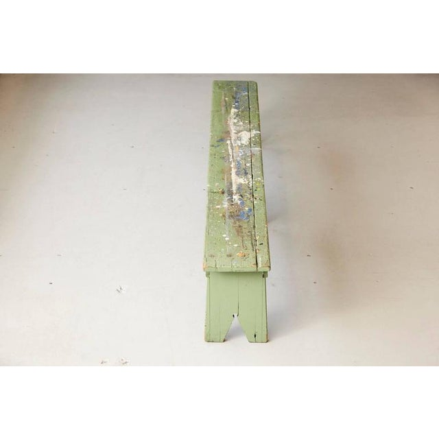 1940s Primitive Green Pine Bench with Lots of Color Splashes from an Artist's Atelier For Sale - Image 5 of 10