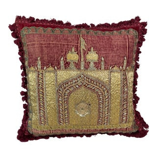 Hand-Embroidered Antique Ottoman Era Metalic Pillow For Sale