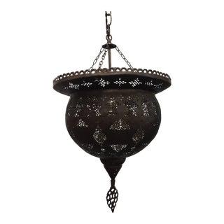 Antique 19th Century Hand-Crafted Moorish Pierced Brass Turkish Chandelier For Sale