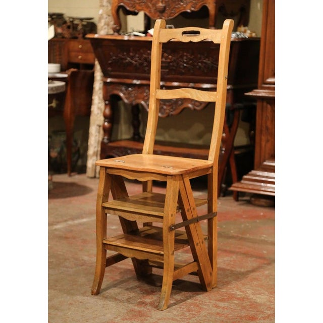 Wood Early 20th Century French Carved Beech Folding Ladder Chair From Provence For Sale - Image 7 of 7