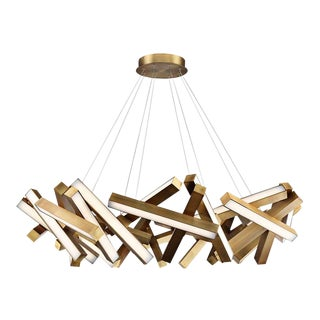 "34"" Aged Brass Chaos Pendant Light Chandelier For Sale"