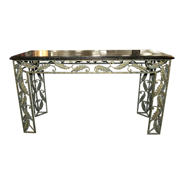 Traditional Maitland Smith Marble Top Iron Console Table For Sale