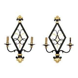 Black and Gilt Iron Art Moderne Style 2-Light Sconces - a Pair