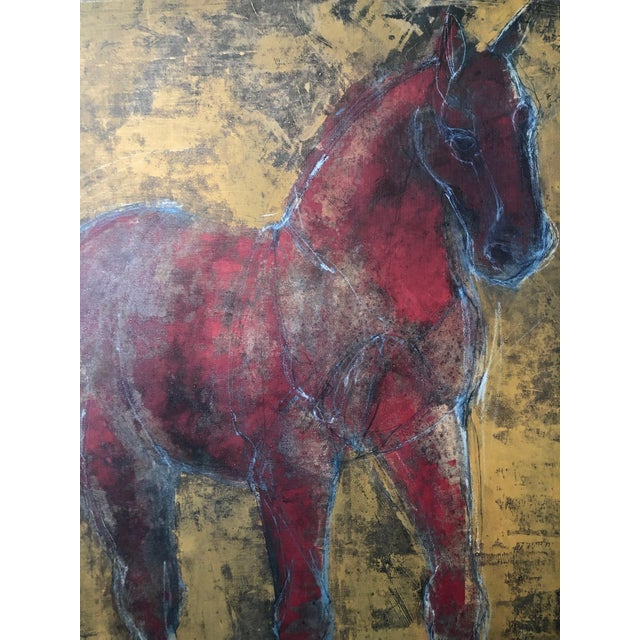 1990s Figurative Reverse-Color Framed Hearting Horses Prints - a Pair For Sale - Image 5 of 12