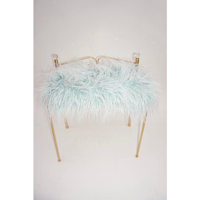 Vintage Vanity Bench | Gold Metal & Light Blue Faux Fur Boudoir Chair For Sale - Image 9 of 9