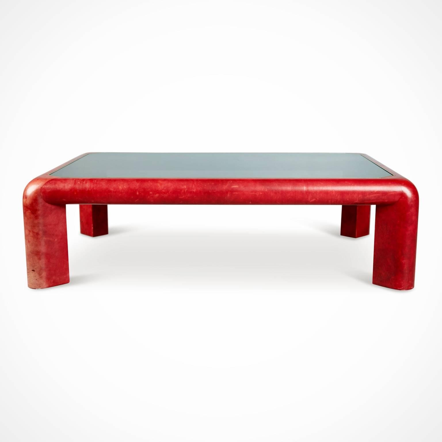 1980s 1984 Karl Springer Signed Lipstick Red Leather And Brass Cocktail  Table For Sale   Image