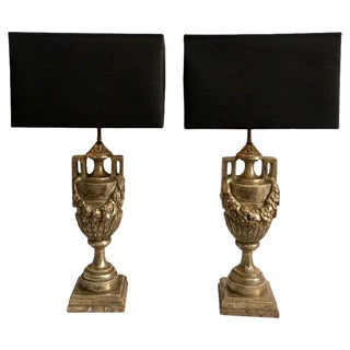 French Neoclassical Style Carved Silver Giltwood & Marble Draped Urn Lamps- A Pair For Sale