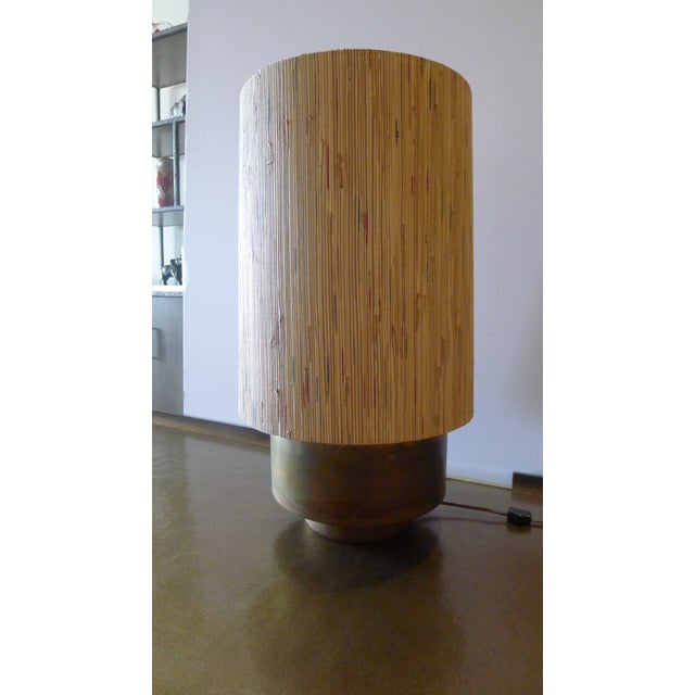 Metal Modern Brass Table Lamp with Custom Grasscloth Shade For Sale - Image 7 of 10