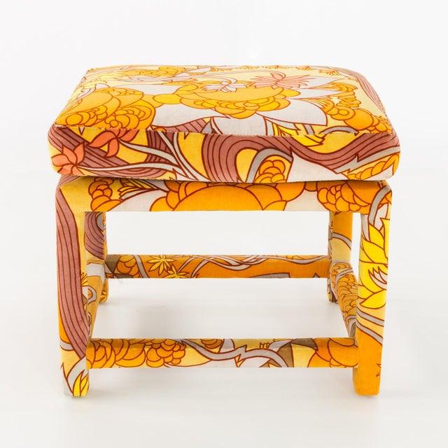 Milo Baughman for Thayer Coggin Mid Century Parsons Ottoman Stool with Jack Lenor Larsen Fabric 22 wide x 18 deep x 18.5...