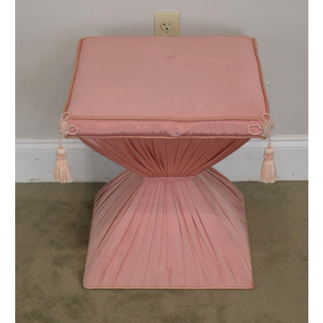 Textile Hollywood Regency Pair Vintage Pink Upholstered Stools For Sale - Image 7 of 12