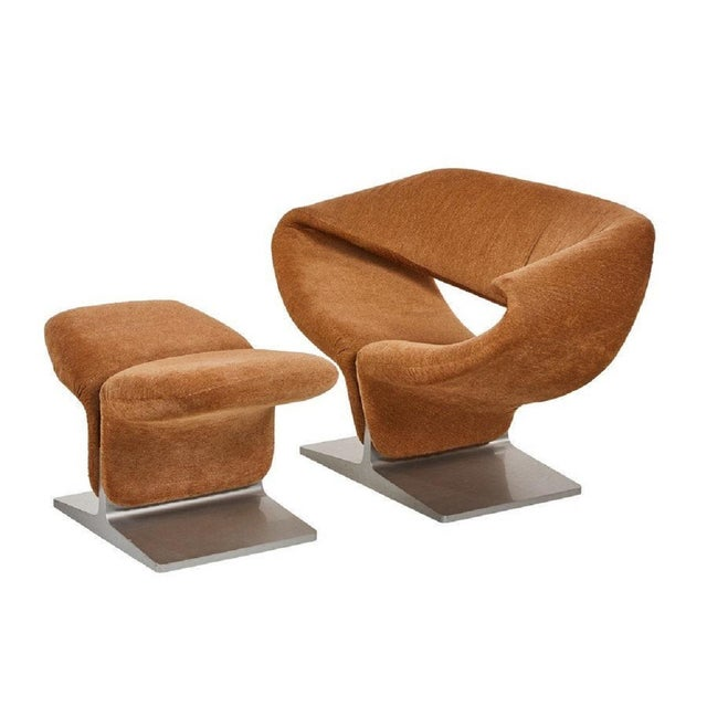 Textile Ribbon Chair and Matching Ottoman by Pierre Paulin for Artifort For Sale - Image 7 of 7