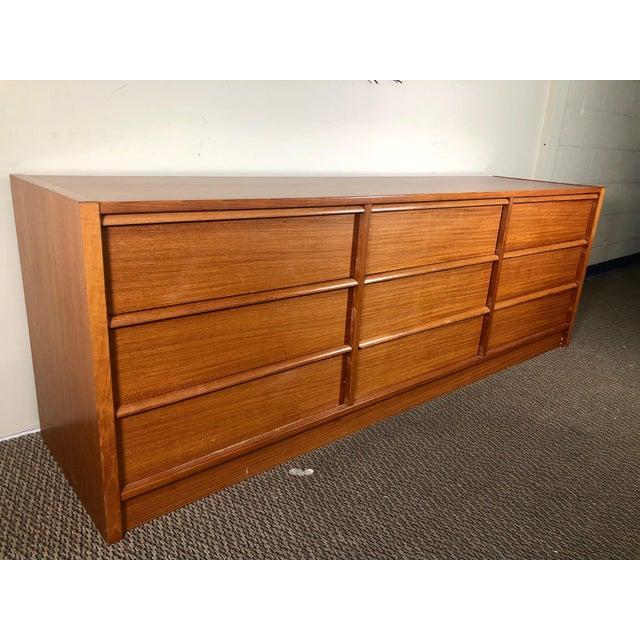 Mid Century Modern Danish Teak Lowboy 9 Drawer Dresser by Jesper For Sale - Image 13 of 13