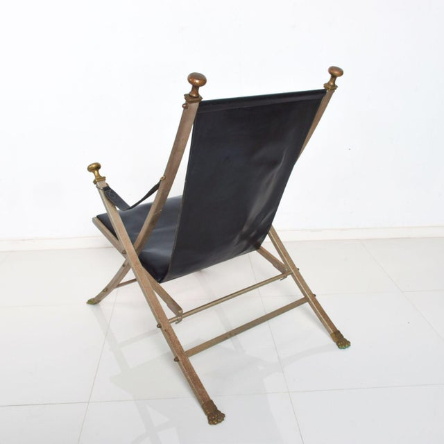 Maison Jansen Regency Bronze Campaign Leather Lounge Chair For Sale - Image 9 of 11