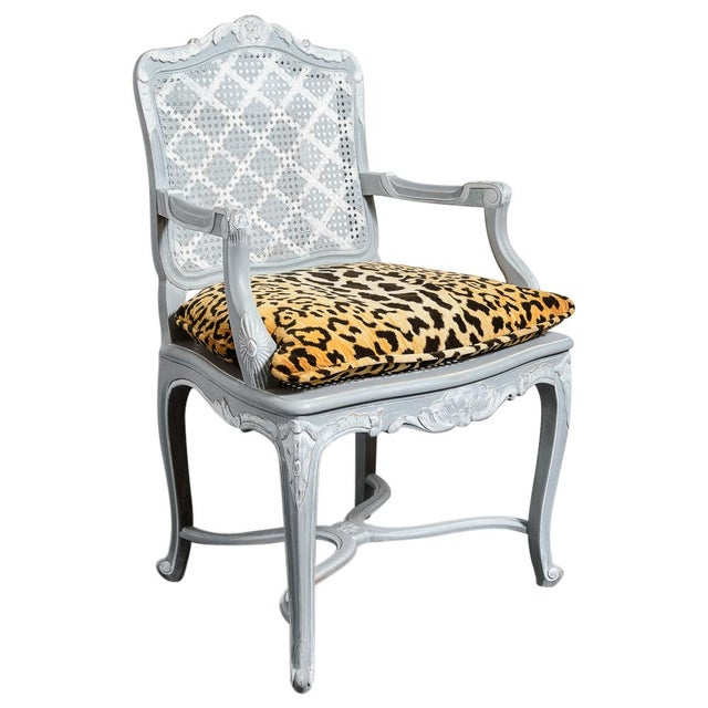 Lovely Pair of French Regency Style Painted Chairs with Animal Print Cushions. Nicely painted in a soft Gray color in the...