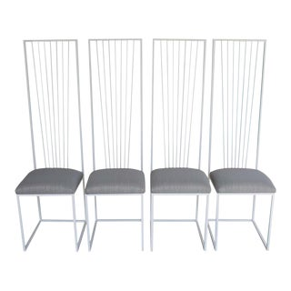 Sculptural High-Back Steel Chairs- Set of 4 For Sale