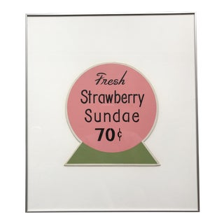 1940s Vintage Original Strawberry Sundae Restaurant Art Sign For Sale