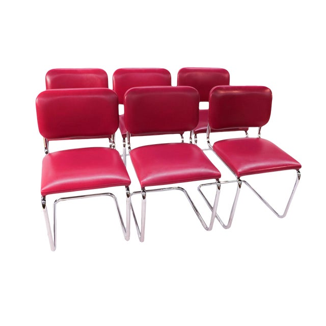 Loewenstein Mid-Century Chrome Cantilever Chairs - Set of 6 - Image 1 of 9