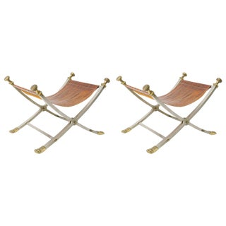 Pair of Italian 1960s Brushed Steel and Brass Maison Jansen Style X Benches For Sale
