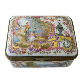 19th Century Victorian Porcelain & Brass Snuff/Sewing/Tobacco Box Silk Lined For Sale