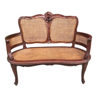 Vintage Italian Curved Caned Loveseat For Sale