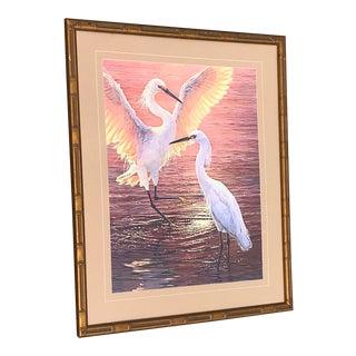 1970s Vintage Herons at Sunset Gilt Faux Bamboo Framed Print For Sale