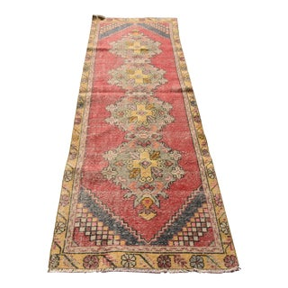 Vintage Turkish Handmade Runner For Sale